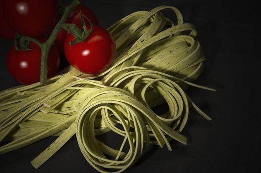Coiled dried tagliatelle Italian pasta