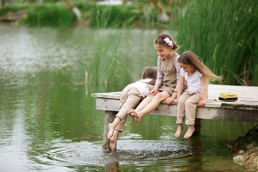Children near pond