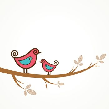 Funny vector birds on the strings stock vector
