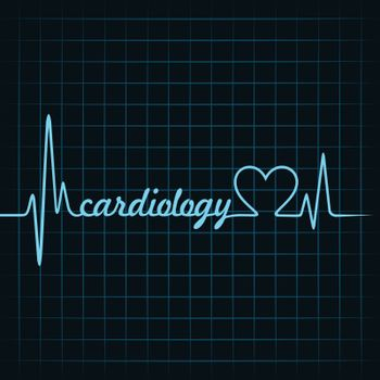 heartbeat make a cardiology text and heart symbol stock vector