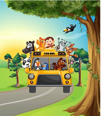 Illustration of a group of animals travelling