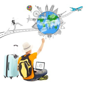 backpacker draw a travel trip planning