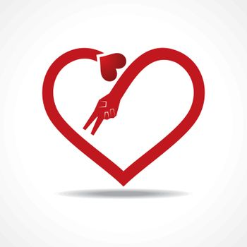 Victory hands make heart shape stock vector