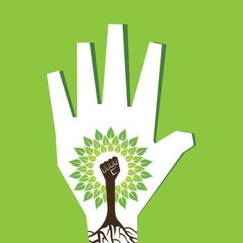Unity hand make tree inside the tree- vector illustration