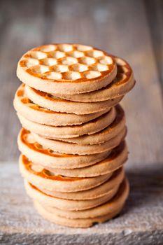 stack of honey cookies