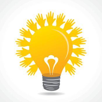Hand make light beam around bulb stock vector