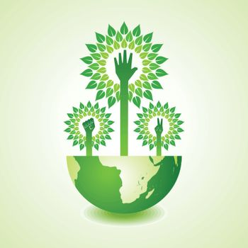 Unity ,victory and helping hand make tree on earth - vector illustration