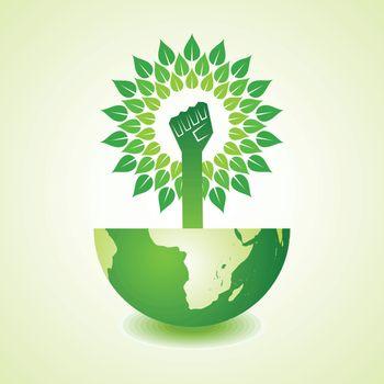 Unity hand make tree on earth - vector illustration