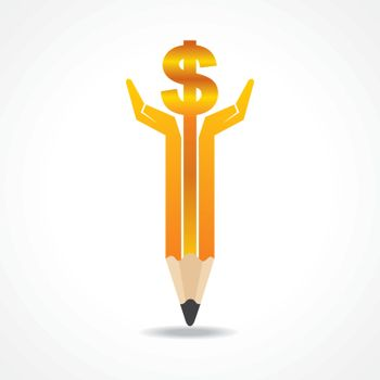 Save money concept with pencil hands stock vector