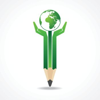 Save earth concept with pencil hands stock vector