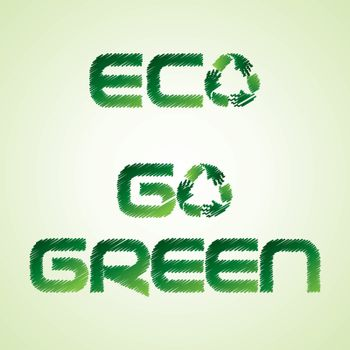 Sketched eco and go green word make by recycle icon of hand - vector illustration