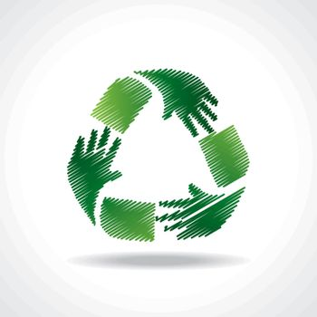 Sketched recycle icon of hand - vector illustration