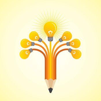 Light-bulbs hands make pencil - vector illustration