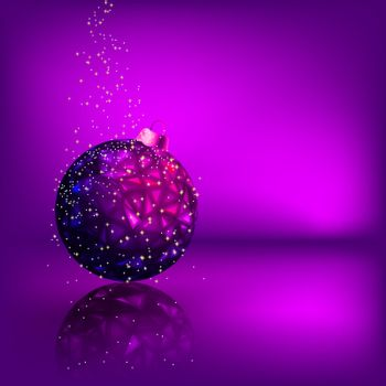 Background with stars and Christmas ball. EPS 8 vector file included
