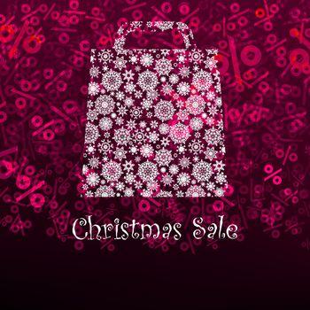 Christmas sa;e card with shopping bag. EPS 8 vector file included
