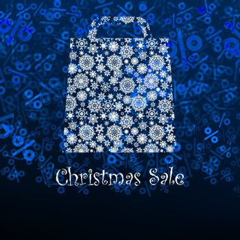 Christmas sale card with shopping bag. EPS 8 vector file included