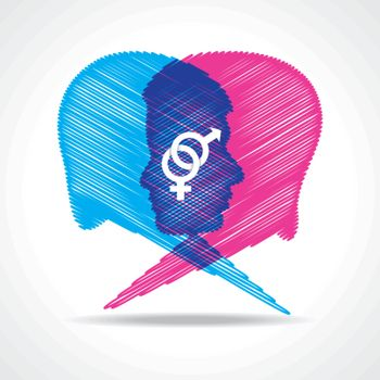 Sketched male and female face make speech bubble stock vector