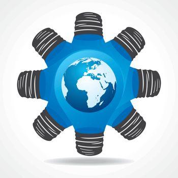 Light-bulb with earth stock vector