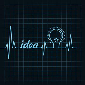 heartbeat make idea  word and light-bulb stock vector