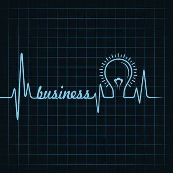 heartbeat make business  word and light-bulb stock vector