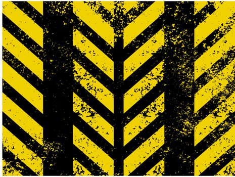 Diagonal hazard stripes texture. These are weathered, worn and grunge-looking. EPS 8 vector file included