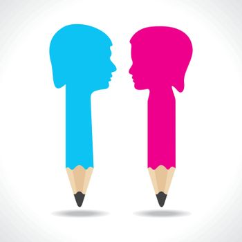 Male and female face make a pencil stock vector