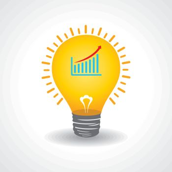 Light bulb with business graph stock vector