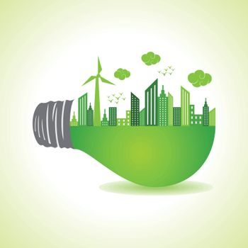 Eco cityscape on light bulb stock vector