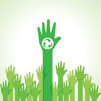 Green helping hand with recycle icon stock vector