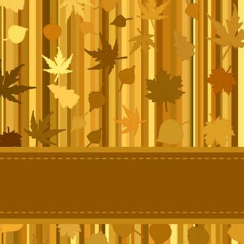 Gold autumn background with leaves. EPS 8 vector file included