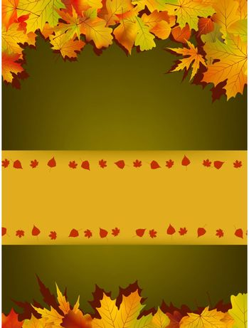 Autumn card of colored leafs. EPS 8 vector file included