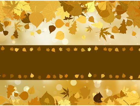 Autumn background with colored leaves on bokeh effect. EPS 8 vector file included