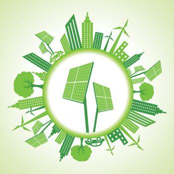 Eco cityscape with solar panel stock vector