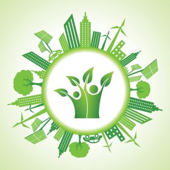 Eco cityscape with green icon stock vector