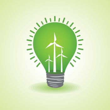 Eco light bulb with windmills stock vector