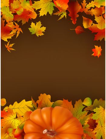 Abstract autumn bright background with leaves. EPS 8 vector file included