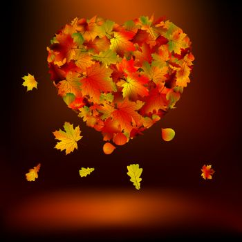 Heart with autumnal leaves. EPS 8 vector file included