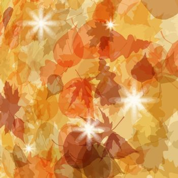 Sun pushing through a varicoloured leaves. EPS 8 vector file included