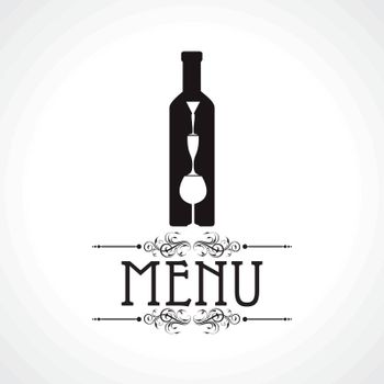 menu card with wine glass and bottle stock vector