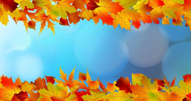 Red and yellow leaves against a bright blue sky. Bokeh effect. EPS 8 vector file included