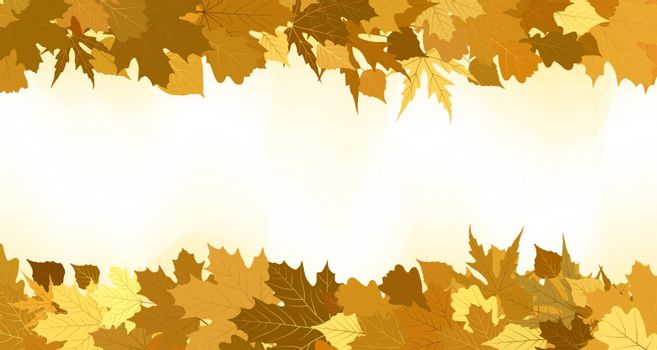 Golden autumn border made from leaves, background. EPS 8 vector file included