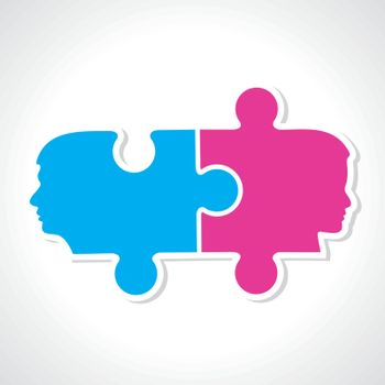 Male and female face with puzzle pieces stock vector
