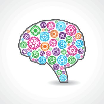 creative mind or brain with colorful gears stock vector
