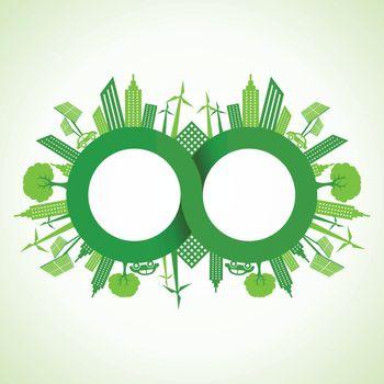 Eco cityscape around infinity symbol stock vector
