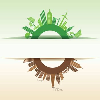 Eco and Polluted city concept stock vector