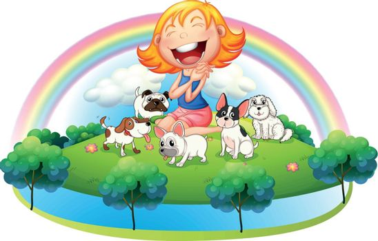 Illustration of an island with a girl and her five pets on a white background