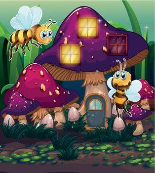 Dragonflies near the enchanted mushroom house