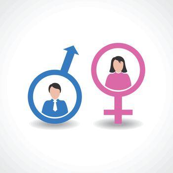 male and female icon design vector