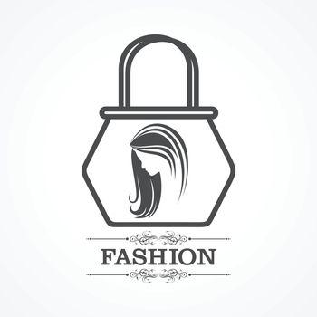Beauty and fashion icon with handbag stock vector