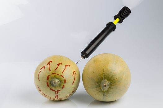 Cosmetic treatment  for Female breasts metaphor: melons air pumped  by bicycle pump meaning cosmetic and health treatment